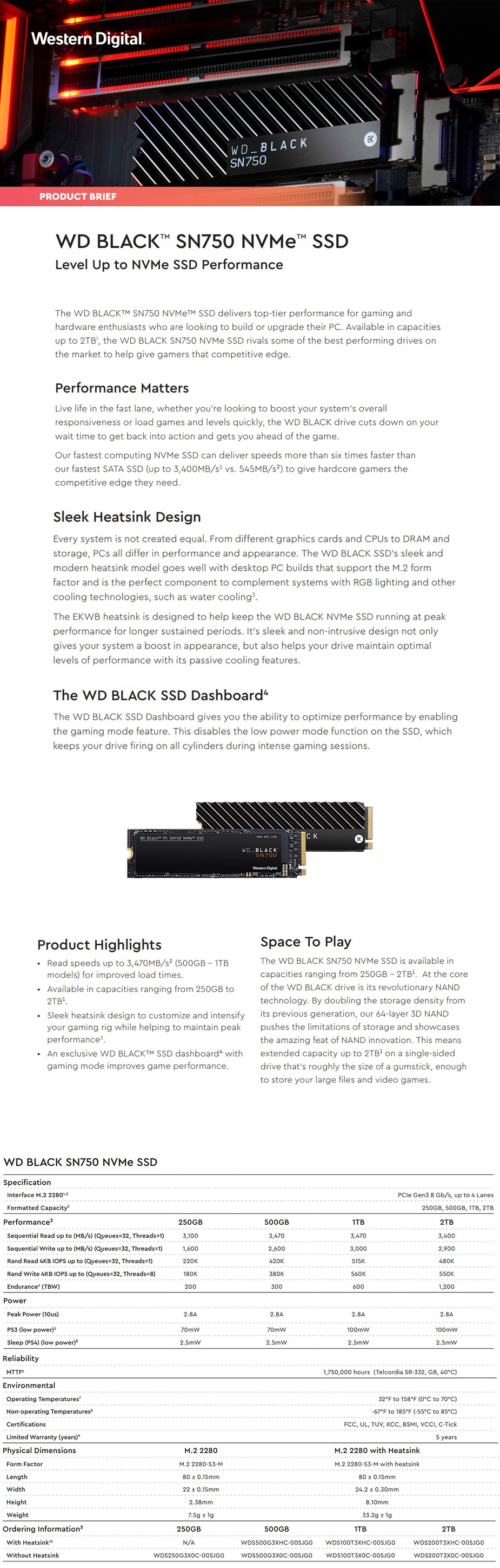 WD Black SN750 2TB NVMe M.2 (2280) PCIe 3x4 3D NAND SSD - with Heatsink - Desktop Overview 1