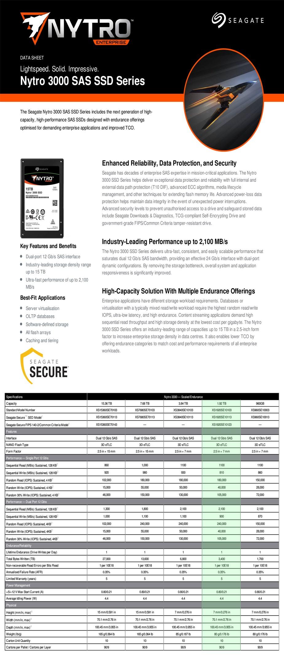 """Seagate Nytro 3330 XS1920SE10103 1.92TB 2.5"""" SAS Enterprise SSD - Desktop Overview 1"""