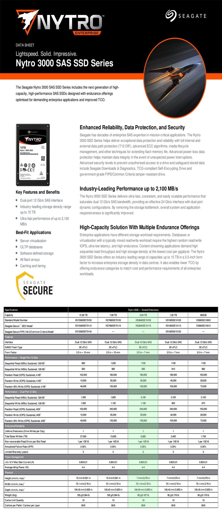 """Seagate Nytro 3330 XS3840SE10103 3.84TB 2.5"""" SAS Enterprise SSD - Desktop Overview 1"""