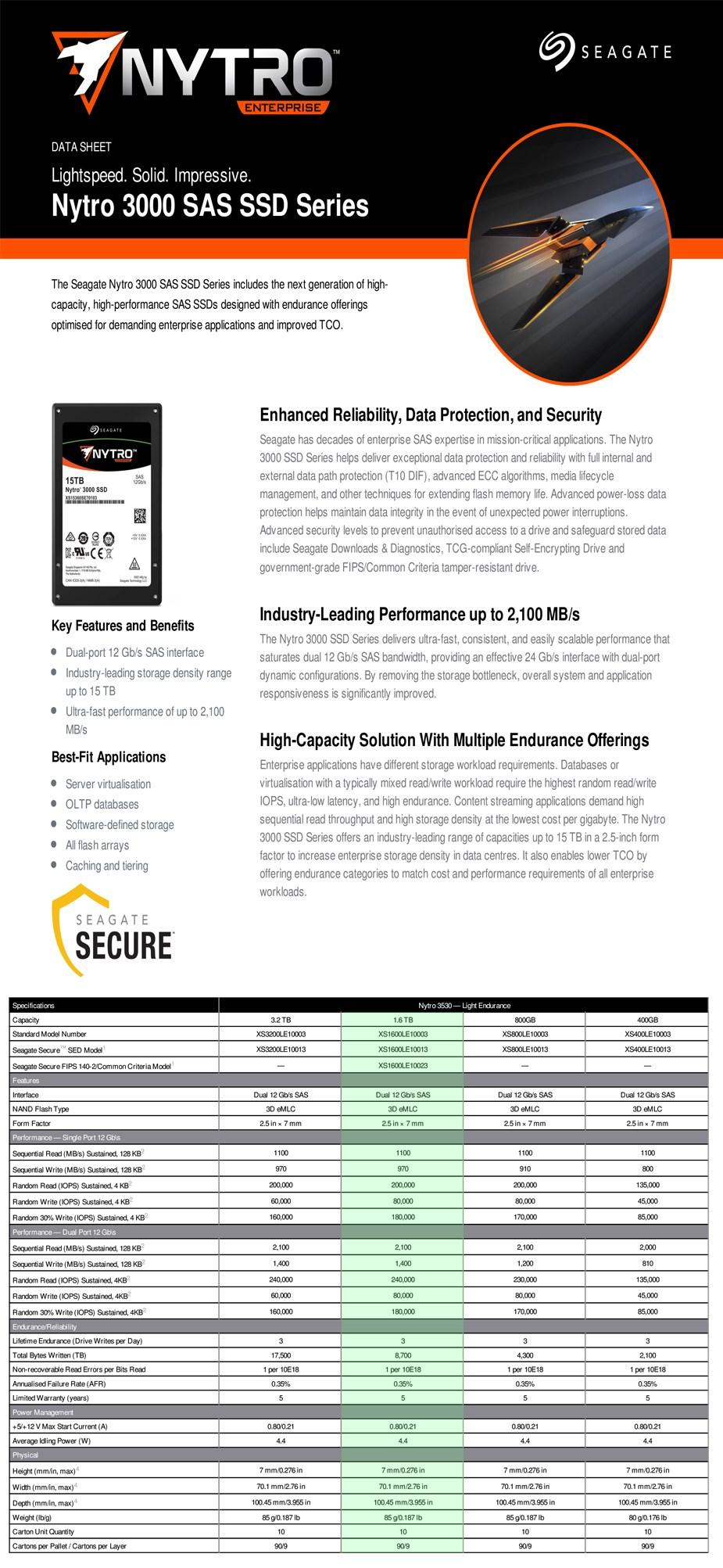 "Seagate Nytro 3530 XS1600LE10003 1.6TB 2.5"" SAS Enterprise SSD - Desktop Overview 1"