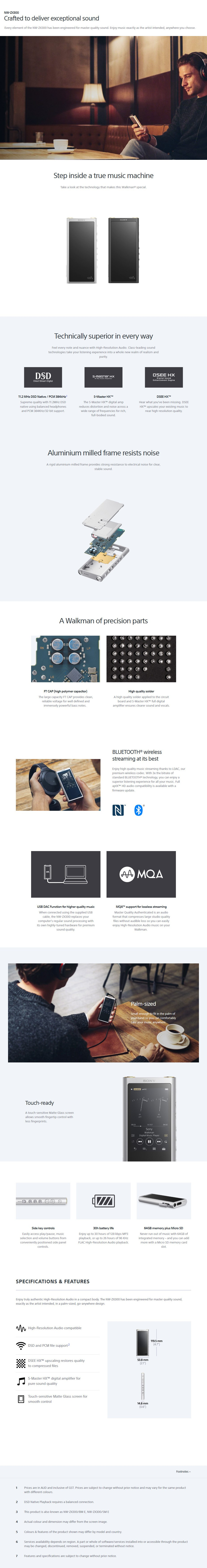 Sony ZX300 Walkman 64GB Portable MP3 Player - Black - Desktop Overview 1