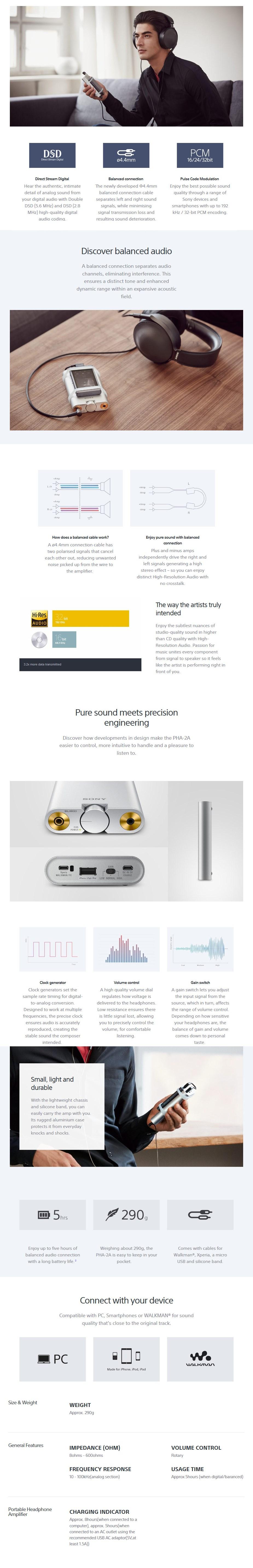 Sony PHA-2A USB DAC Headphone Amplifier - Desktop Overview 1