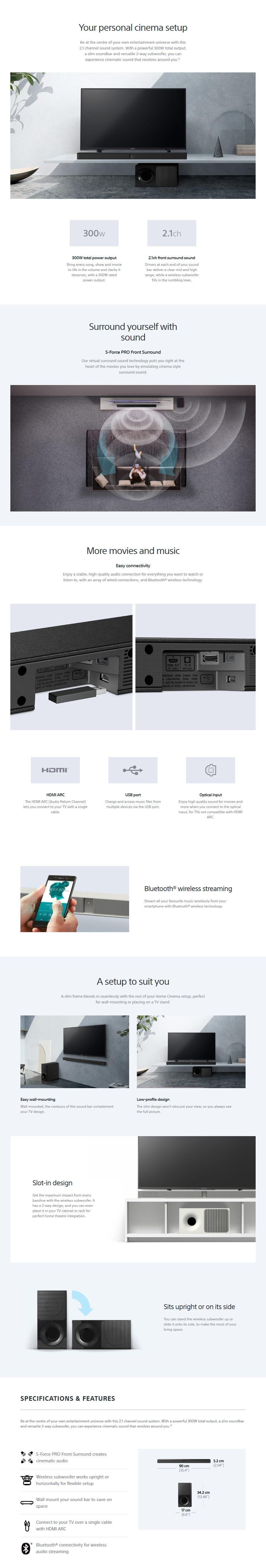 Sony HT-CT290 2.1 Bluetooth Soundbar System - Desktop Overview 1
