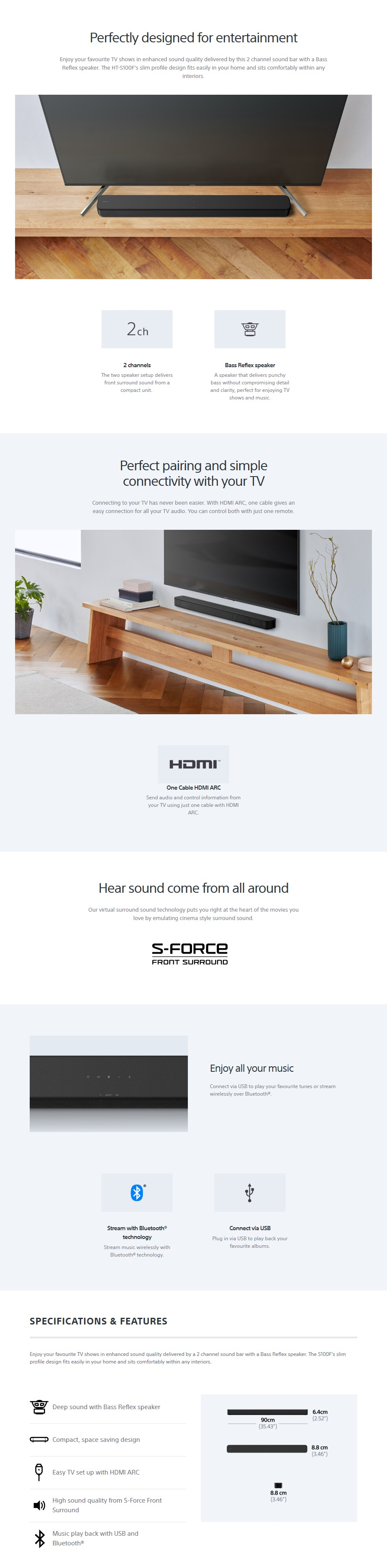 Sony HT-S100F 2.0 Compact Bluetooth Soundbar - Desktop Overview 1