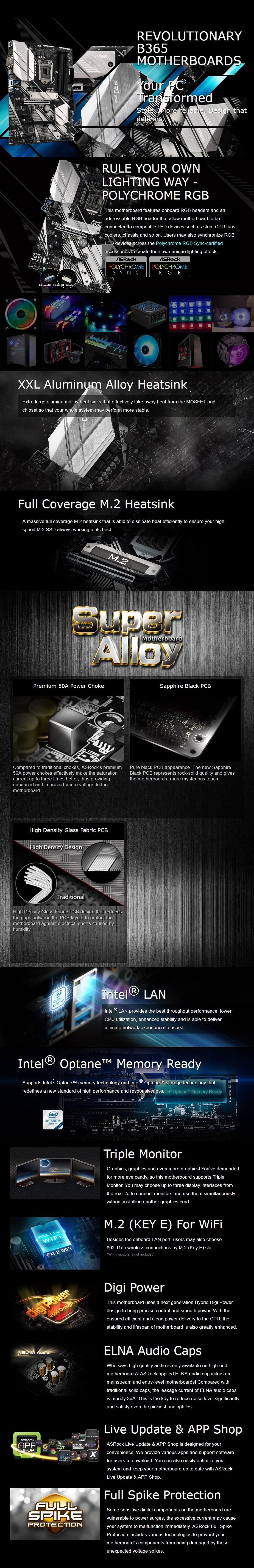 ASRock B365 Pro4 LGA 1151 ATX Motherboard - Desktop Overview 1