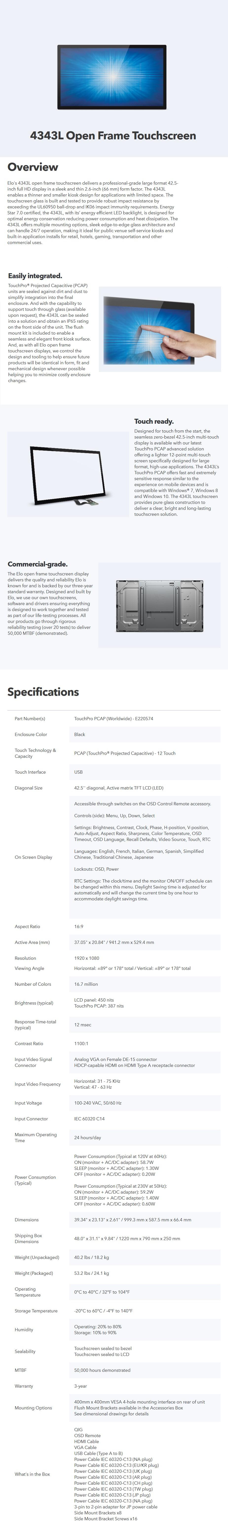 "Elo 4343L 43"" Open Frame Full HD Touchscreen POS Monitor - Desktop Overview 1"