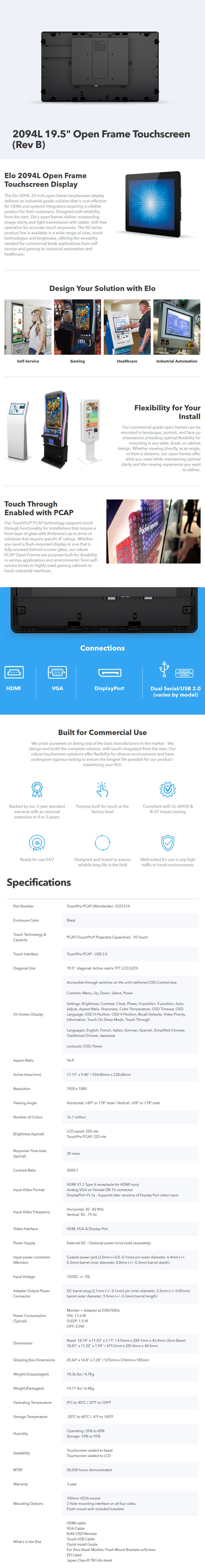 "Elo 2094L 19.5"" Open Frame Full HD Touchscreen POS Monitor - Desktop Overview 1"