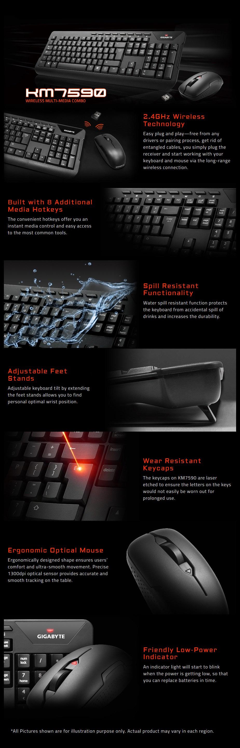 Gigabyte KM7590 Wireless Multi-Media Keyboard & Mouse Combo - Desktop Overview 1