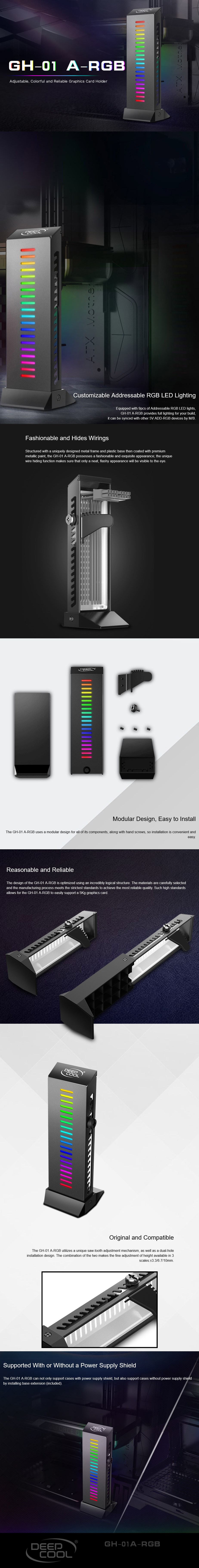 DeepCool GH-01 A-RGB Adjustable Internal Graphics Card Holder - Desktop Overview 1