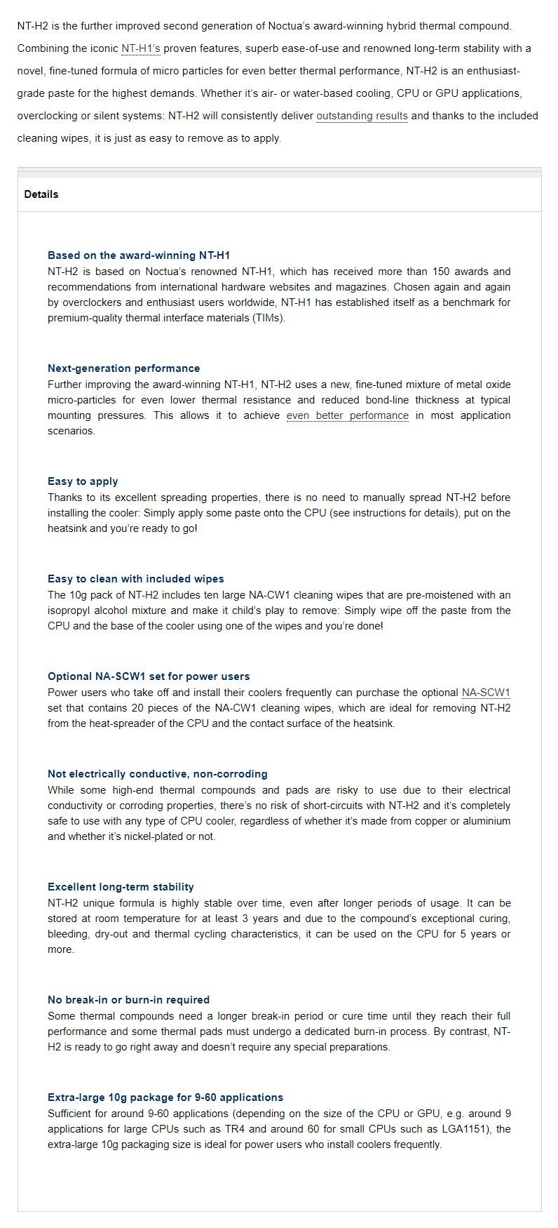 Noctua NT-H2 Thermal Compound - 10g - Desktop Overview 2