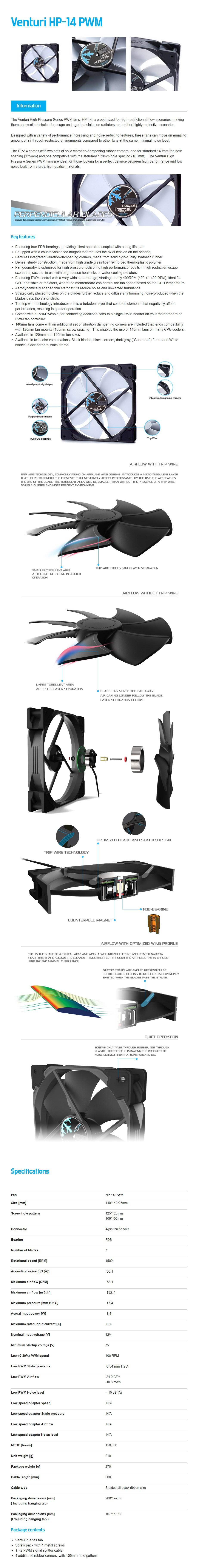 Fractal Design Venturi Series HP-14 140mm PWM Case Fan - Black/White - Desktop Overview 1