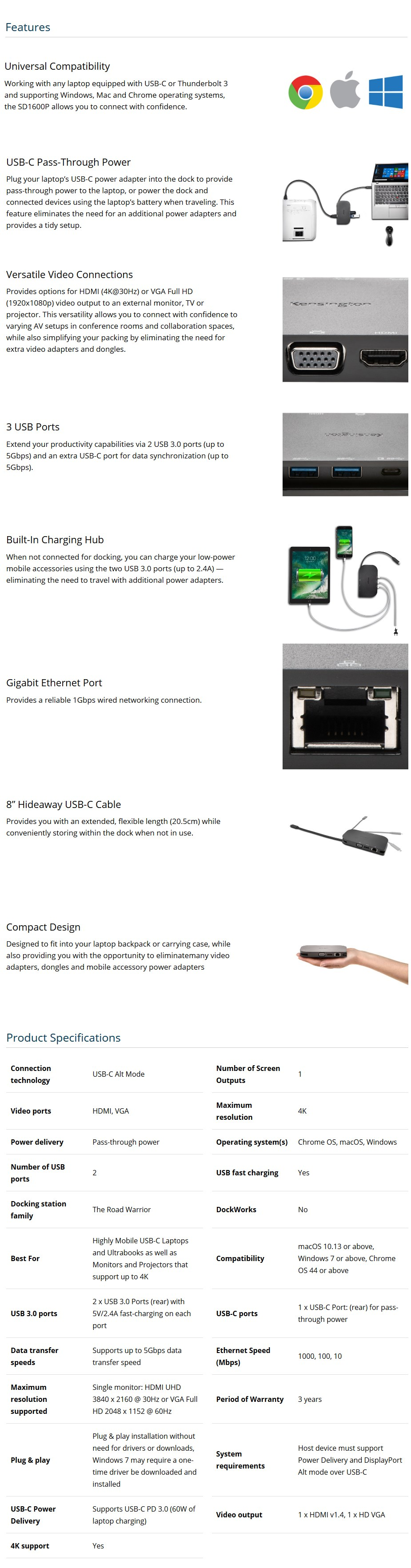 Kensington SD1600P USB Type-C Mobile Docking Station - Desktop Overview 1