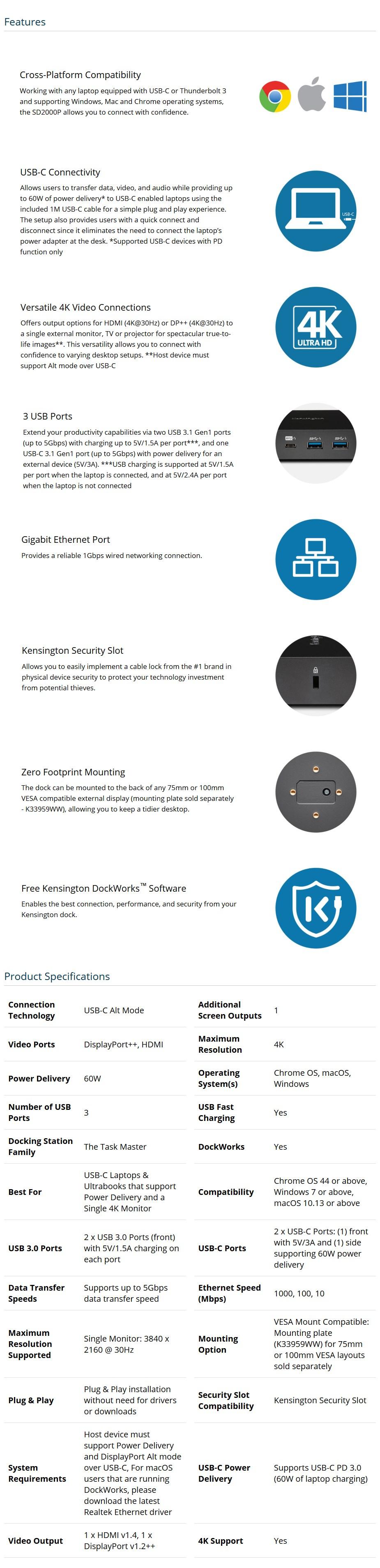 Kensington SD2000P USB Type-C Single 4K Nano Docking Station - Desktop Overview 1