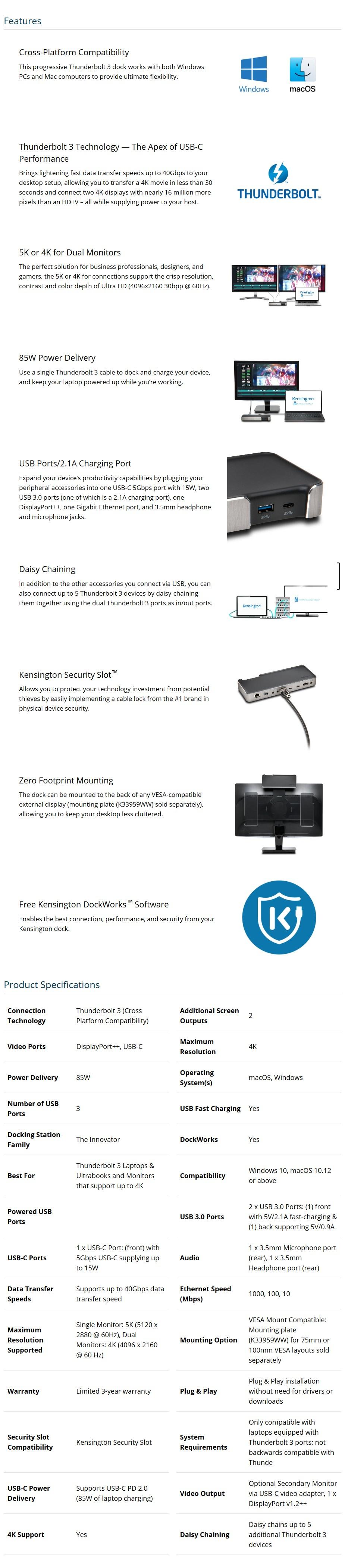 Kensington SD5200T Thunderbolt 3 Dual 4K Docking Station - Desktop Overview 1