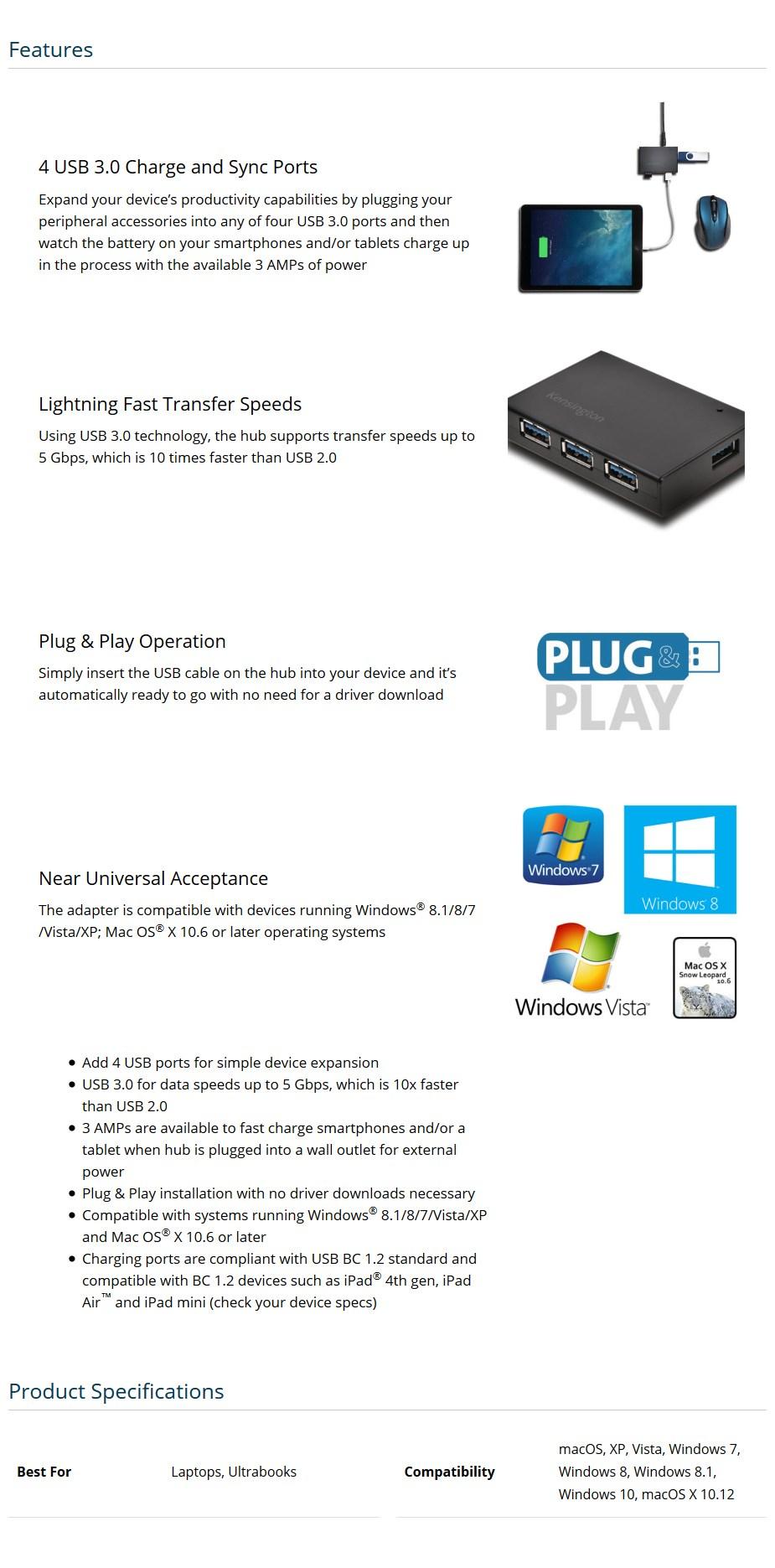 Kensington UH4000C USB 3.0 4-Port Hub and Charger - Desktop Overview 1