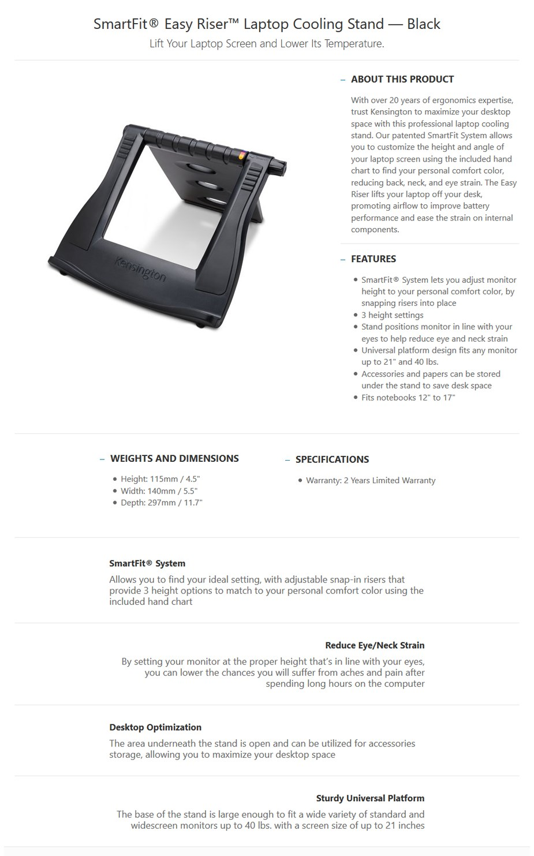 Kensington SmartFit Easy Riser Laptop Cooling Stand - Black - Desktop Overview 1