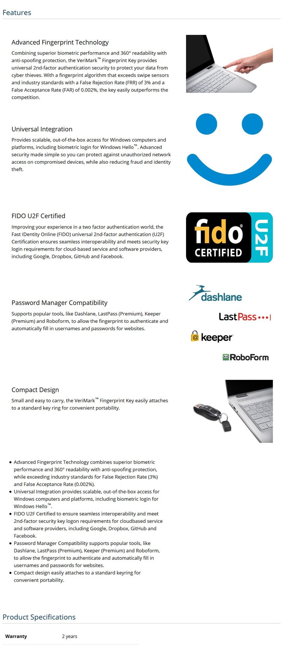 Kensington VeriMark Fingerprint Reader USB Dongle - Desktop Overview 1