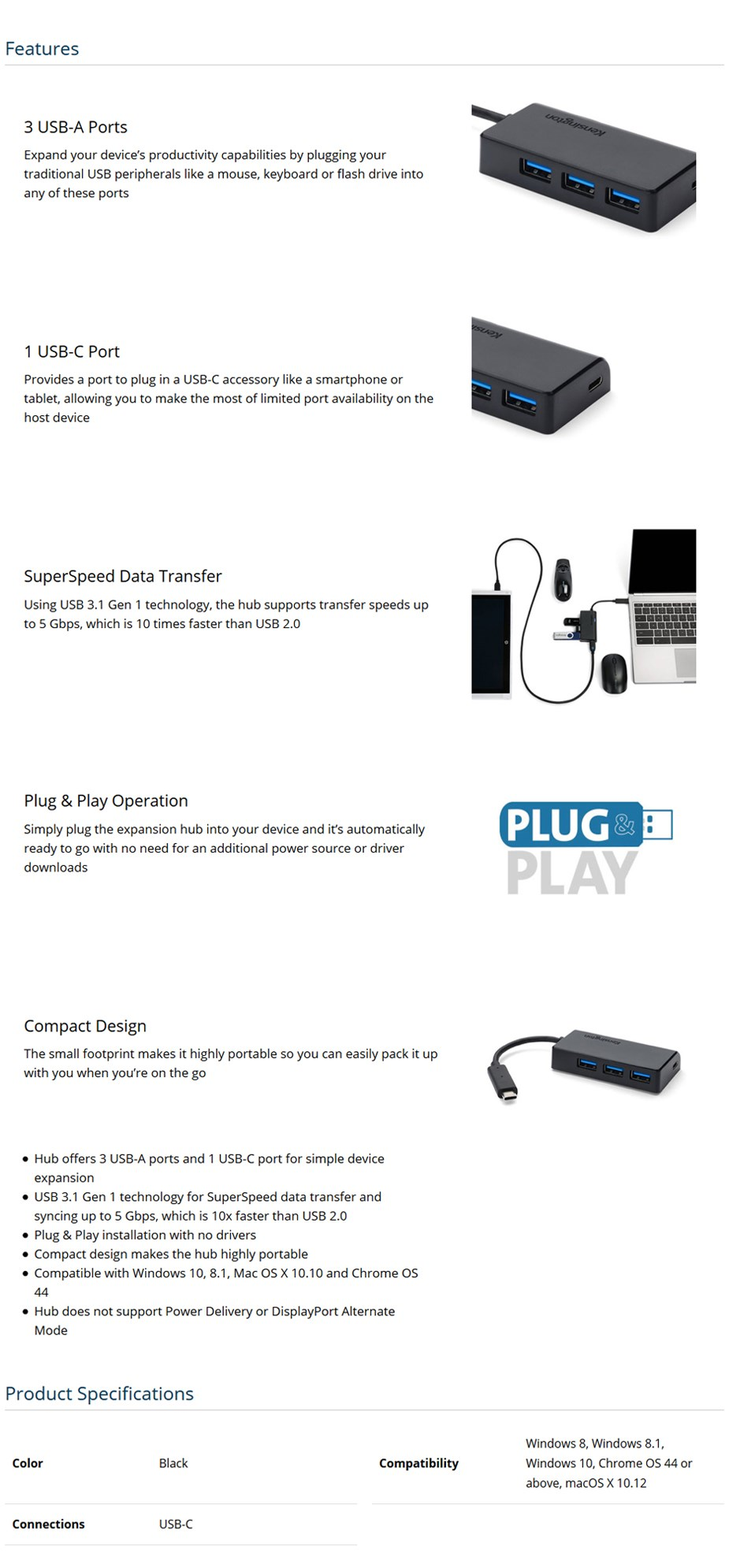 Kensington CH1000 USB Type-C 4-Port Hub - Desktop Overview 1