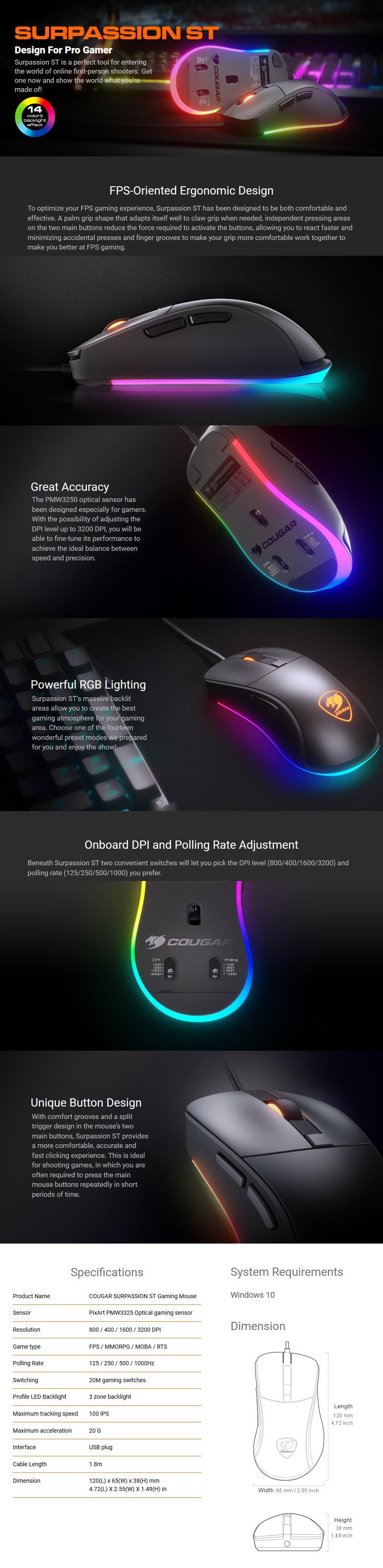 Cougar Surpassion ST RGB Optical Gaming Mouse - Desktop Overview 1