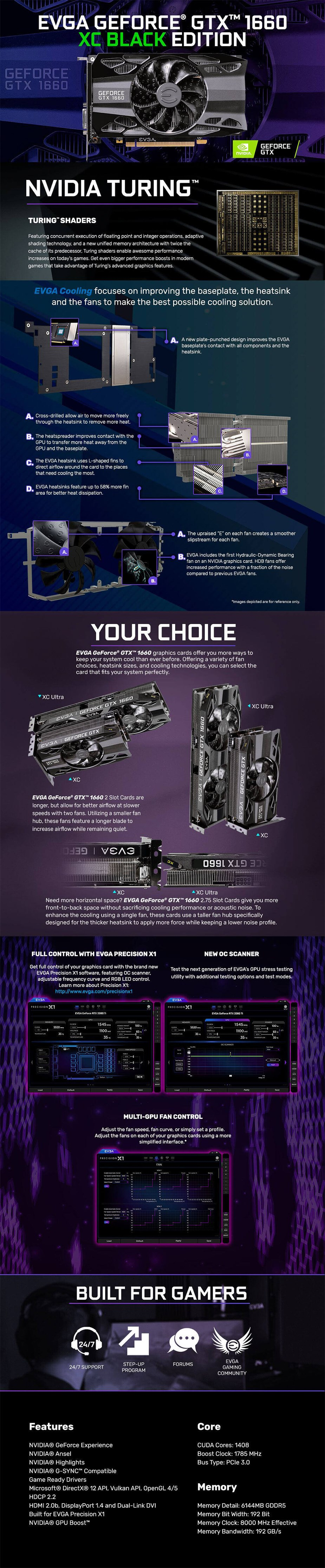 EVGA GeForce GTX 1660 XC BLACK GAMING 6GB Video Card - Desktop Overview 1