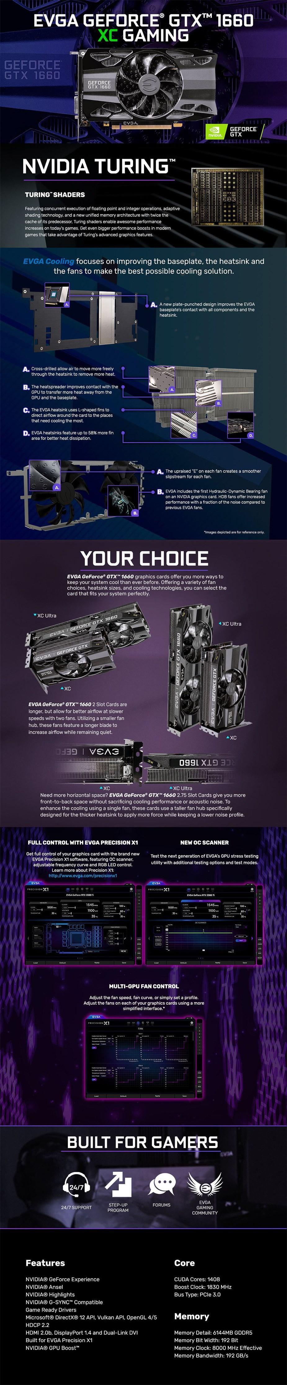 EVGA GeForce GTX 1660 XC GAMING 6GB Video Card - Desktop Overview 1