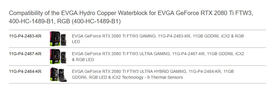 EVGA Hydro Copper Waterblock for EVGA GeForce RTX 2080 Ti FTW3 Graphic Cards - Overview 1