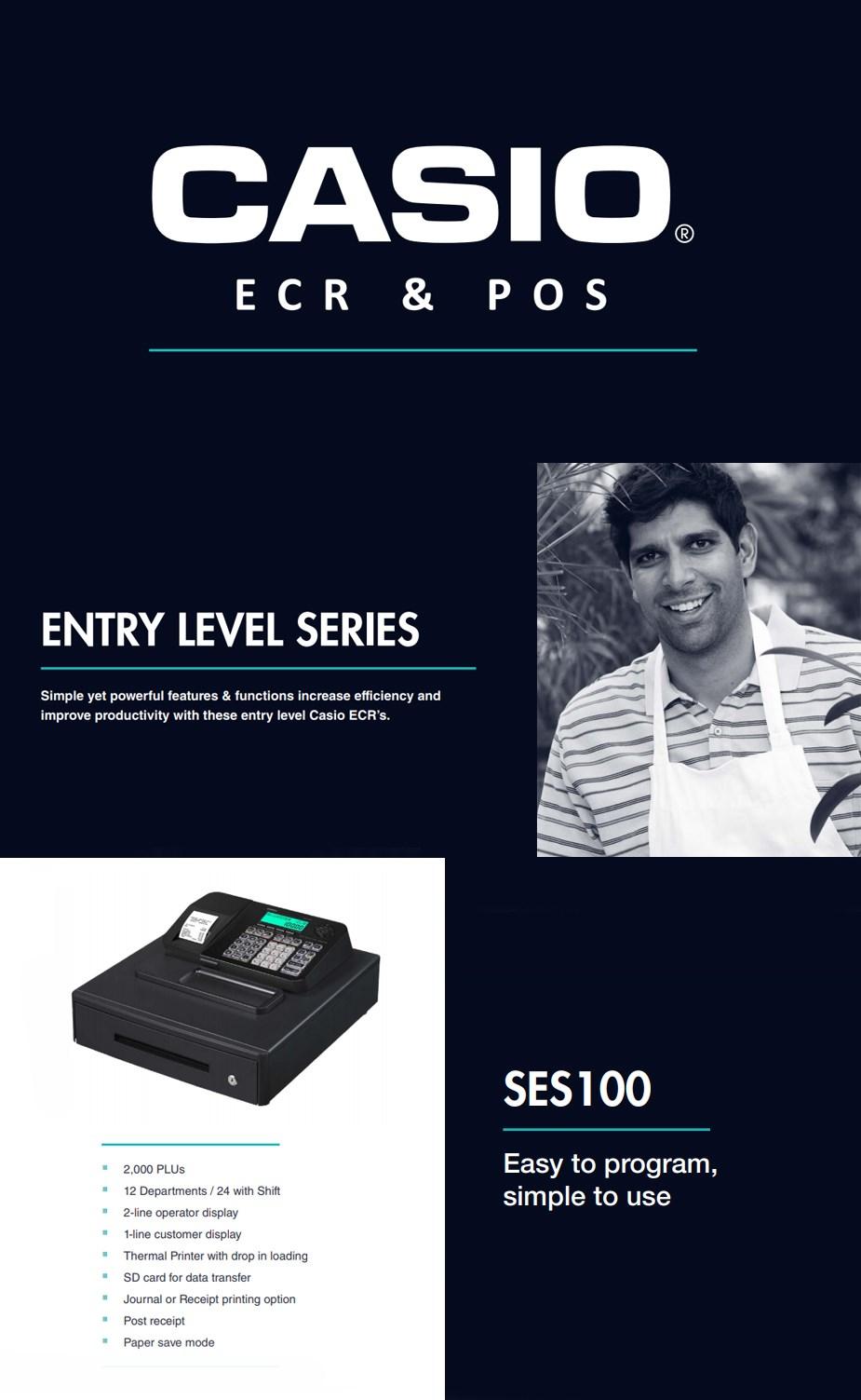Casio SES100 Entry-Level Cash Register - Black - Desktop Overview 1