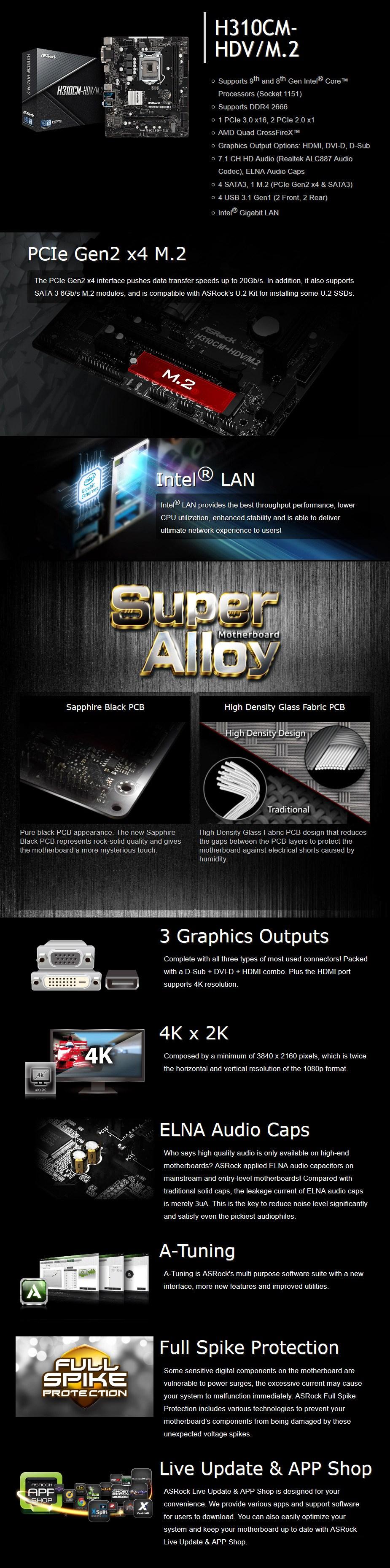 ASRock H310CM-HDV/M.2 LGA 1151 M-ATX Motherboard - Desktop Overview 1