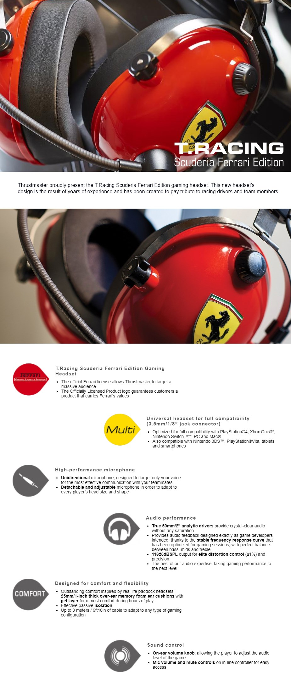 Thrustmaster T-RACING Scuderia Ferrari Edition Gaming Headset - Desktop Overview 1