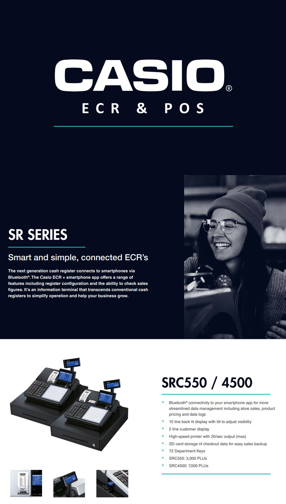 Casio SRC550 Electronic Cash Register with Bluetooth - Desktop Overview 1