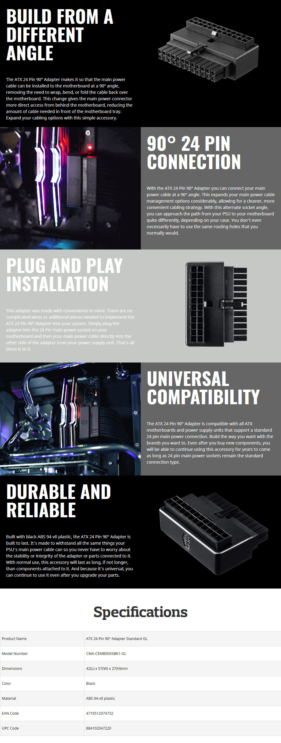 Cooler Master ATX 24-pin 90 Degree Adapter - Overview 1