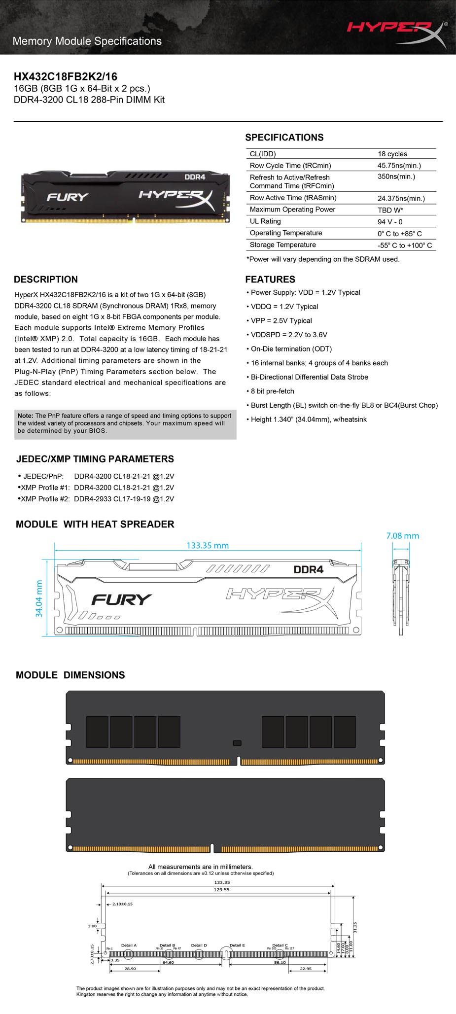 Kingston HyperX FURY 16GB (2x 8GB) DDR4 3200MHz Memory Black - Overview 2
