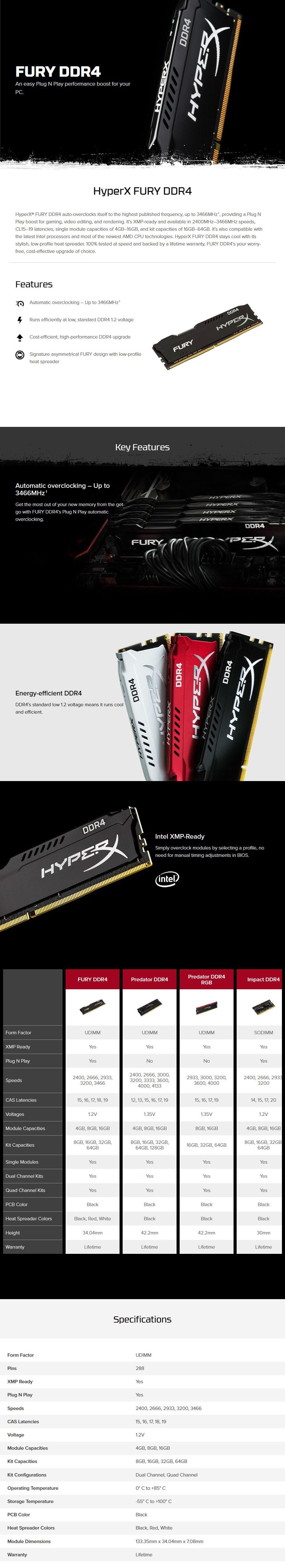 Kingston HyperX FURY 16GB (2x 8GB) DDR4 3200MHz Memory Black  - Overview 1
