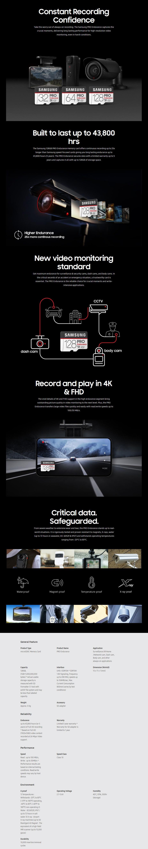 Samsung 128GB PRO Endurance microSDXC UHS-1 Class 10 Memory Card - 100MB/s - Desktop Overview 1