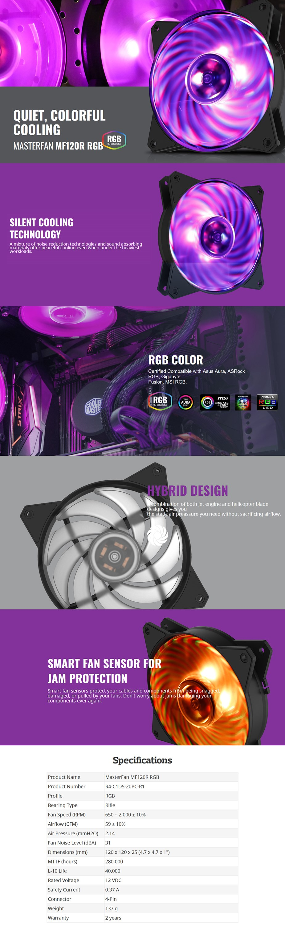 Cooler Master MasterFan MF120R RGB 120mm Fan - Desktop Overview 1