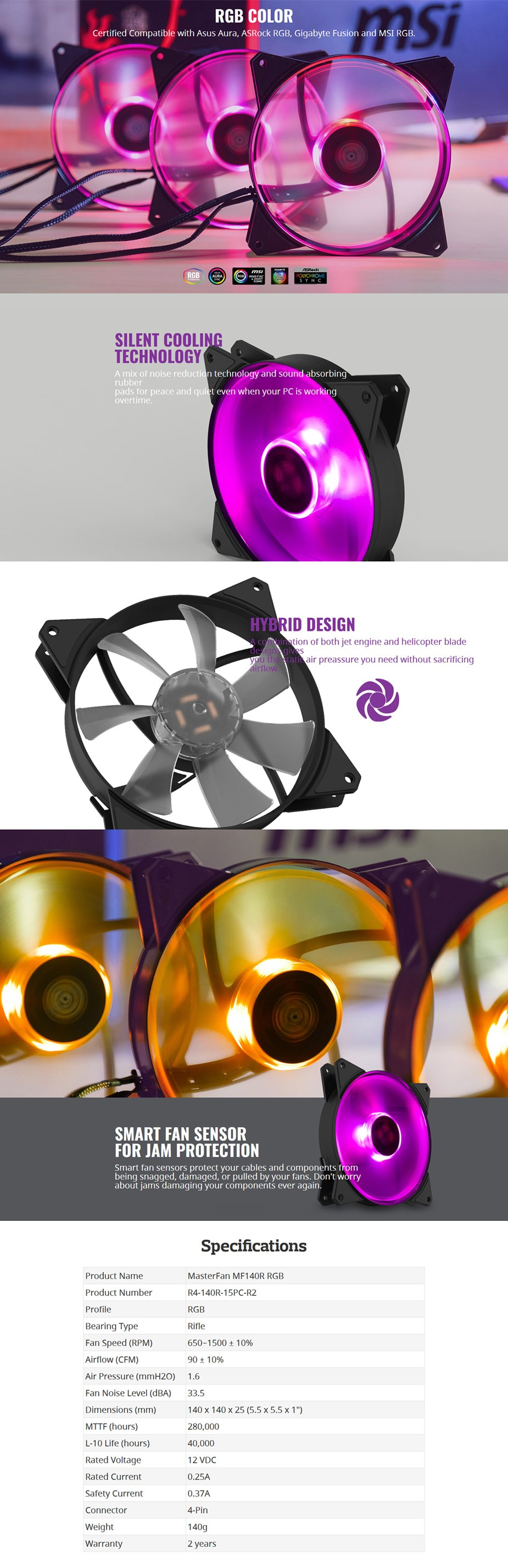 Cooler Master MasterFan MF140R RGB 140mm Fan - Desktop Overview 1
