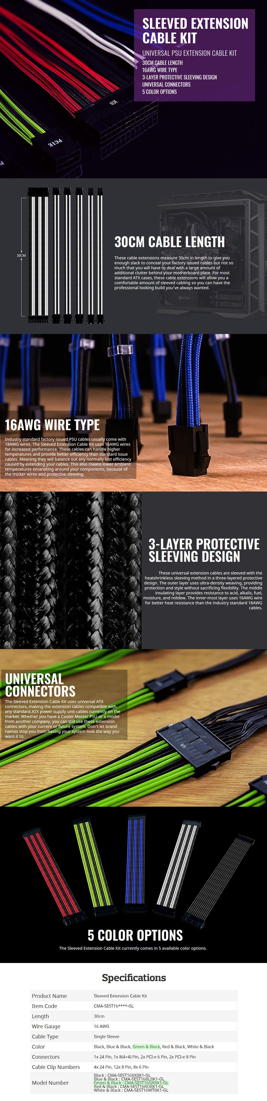 Cooler Master Universal PSU Sleeved Extension Cable Kit - Green/Black - Desktop Overview 1