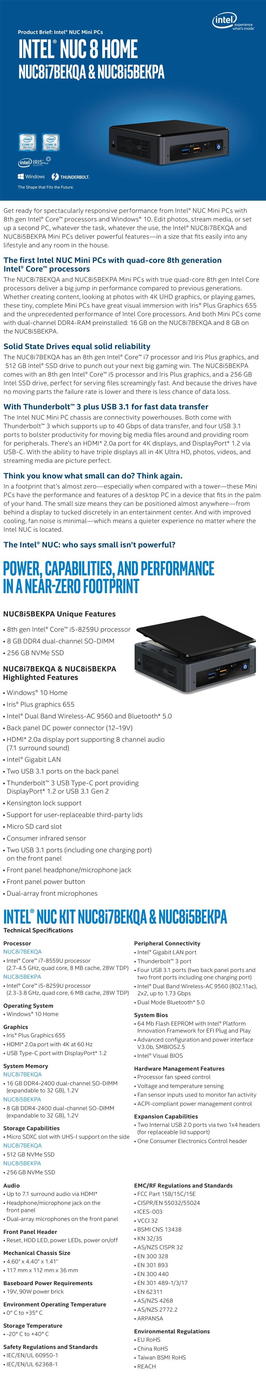 Intel BOXNUC8I5BEKPA4 NUC Mini PC Core i5-8259U 8GB RAM 256GB SSD Win10 Home - Overview 1