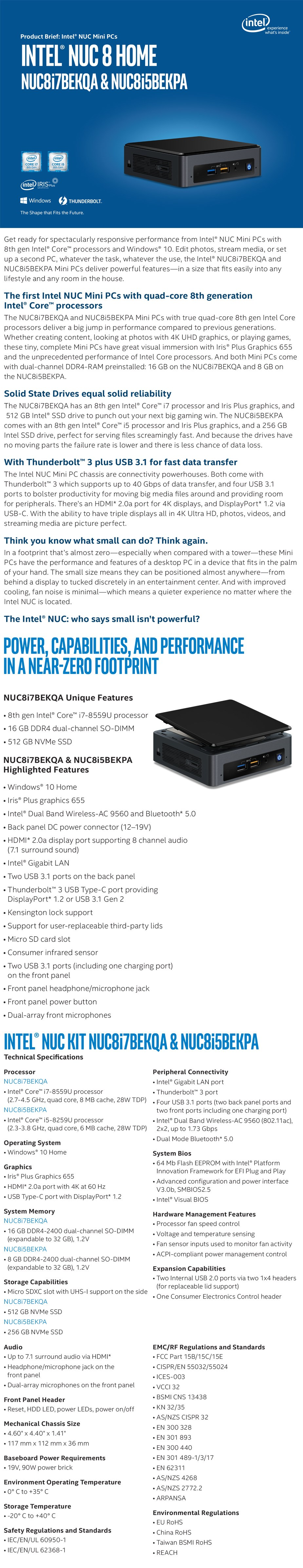 Intel BOXNUC8I5BEKPA4 NUC Mini PC Core i5-8259U 8GB RAM 256GB SSD Win10 Home - Overview 1