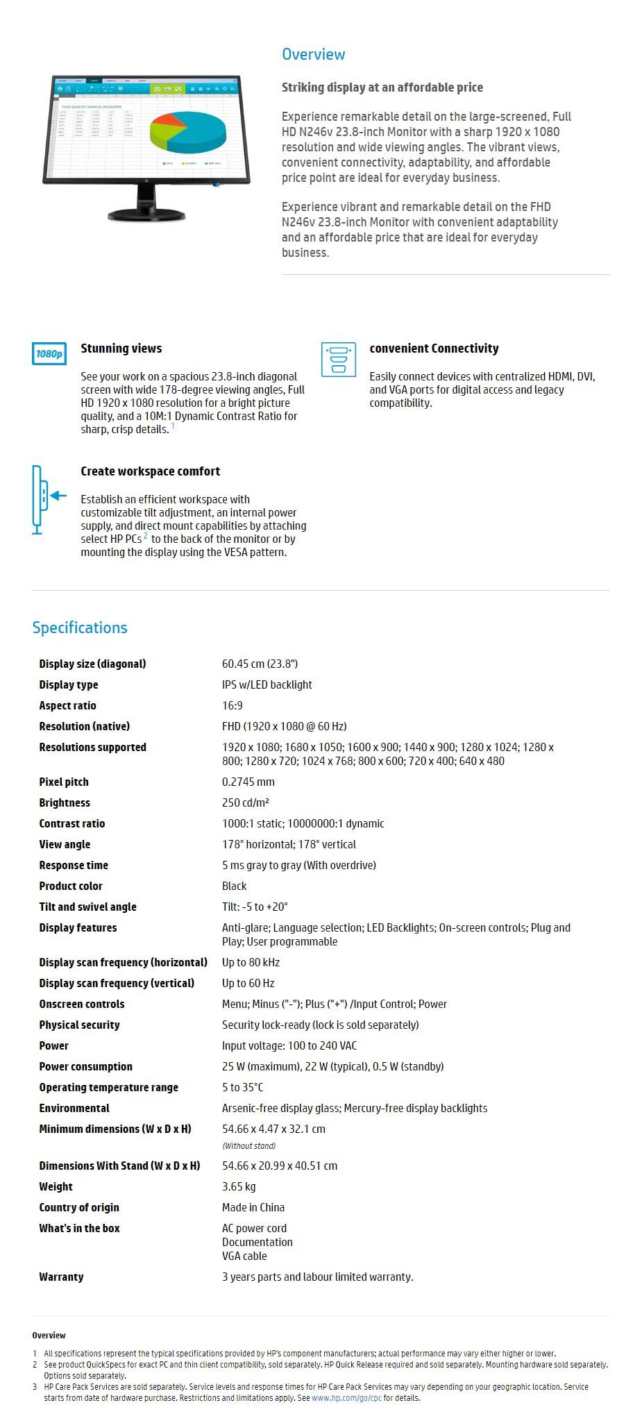 """HP N246v 23.8"""" Full HD 5ms LED IPS Monitor - Desktop Overview 1"""