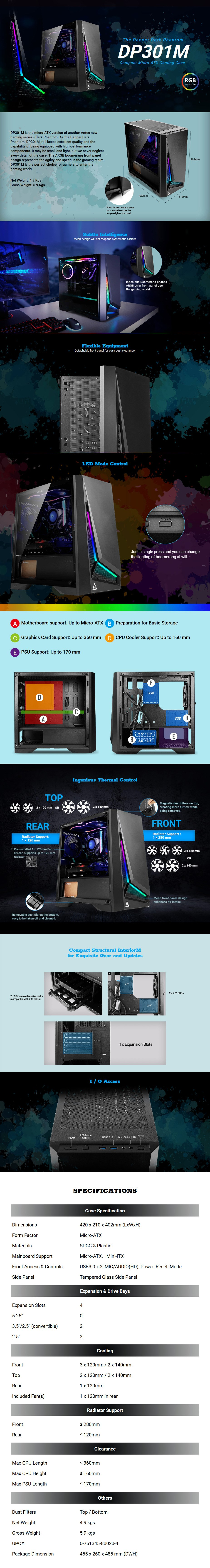 Antec DP301MA RGB Tempered Glass Compact Micro-ATX Case - Desktop Overview 1