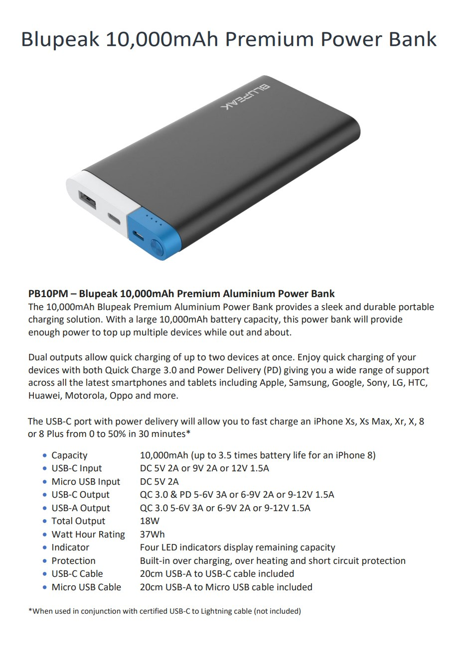 Blupeak 10000mAh Premium Aluminium USB-A & USB-C Power Bank - Desktop Overview 1
