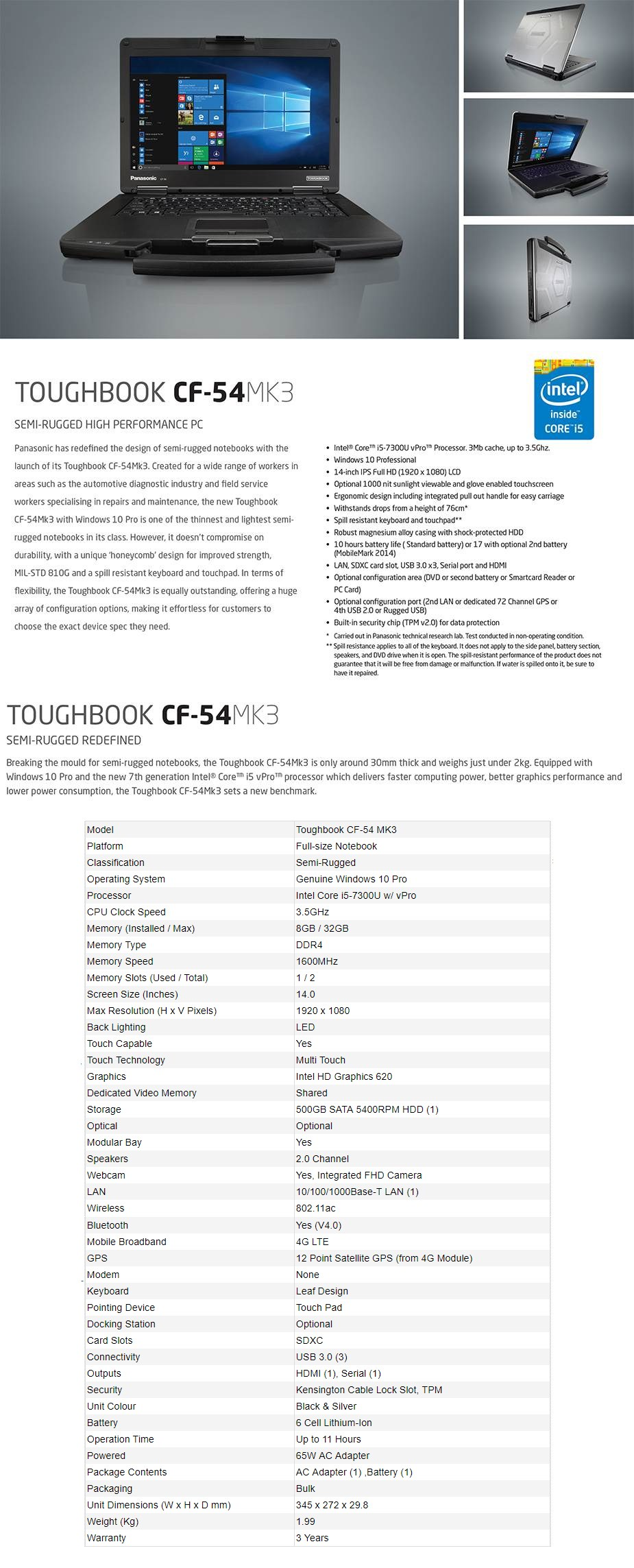 "Panasonic Toughbook Mk3 CF-54 14"" Notebook i5 8GB 500GB Win10 4G Touch - Desktop Overview 1"