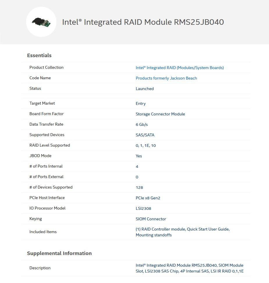 Intel Integrated SAS/SATA RAID Controller - RMS25JB040 - Desktop Overview 1
