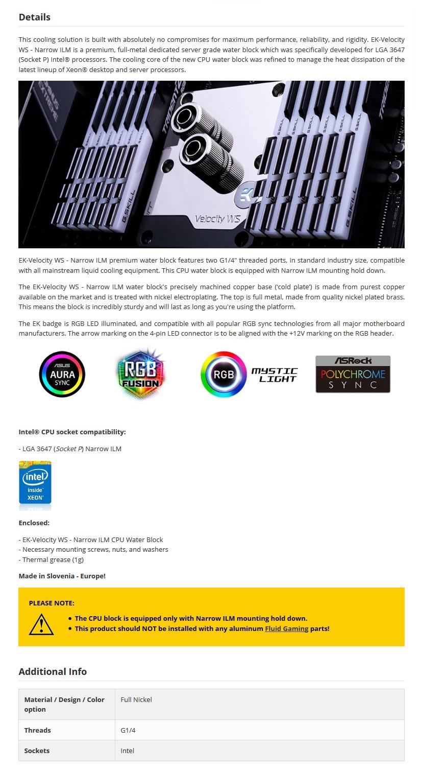 EKWB EK-Velocity WS Waterblock for Intel Sockets- Narrow ILM - Desktop Overview 1