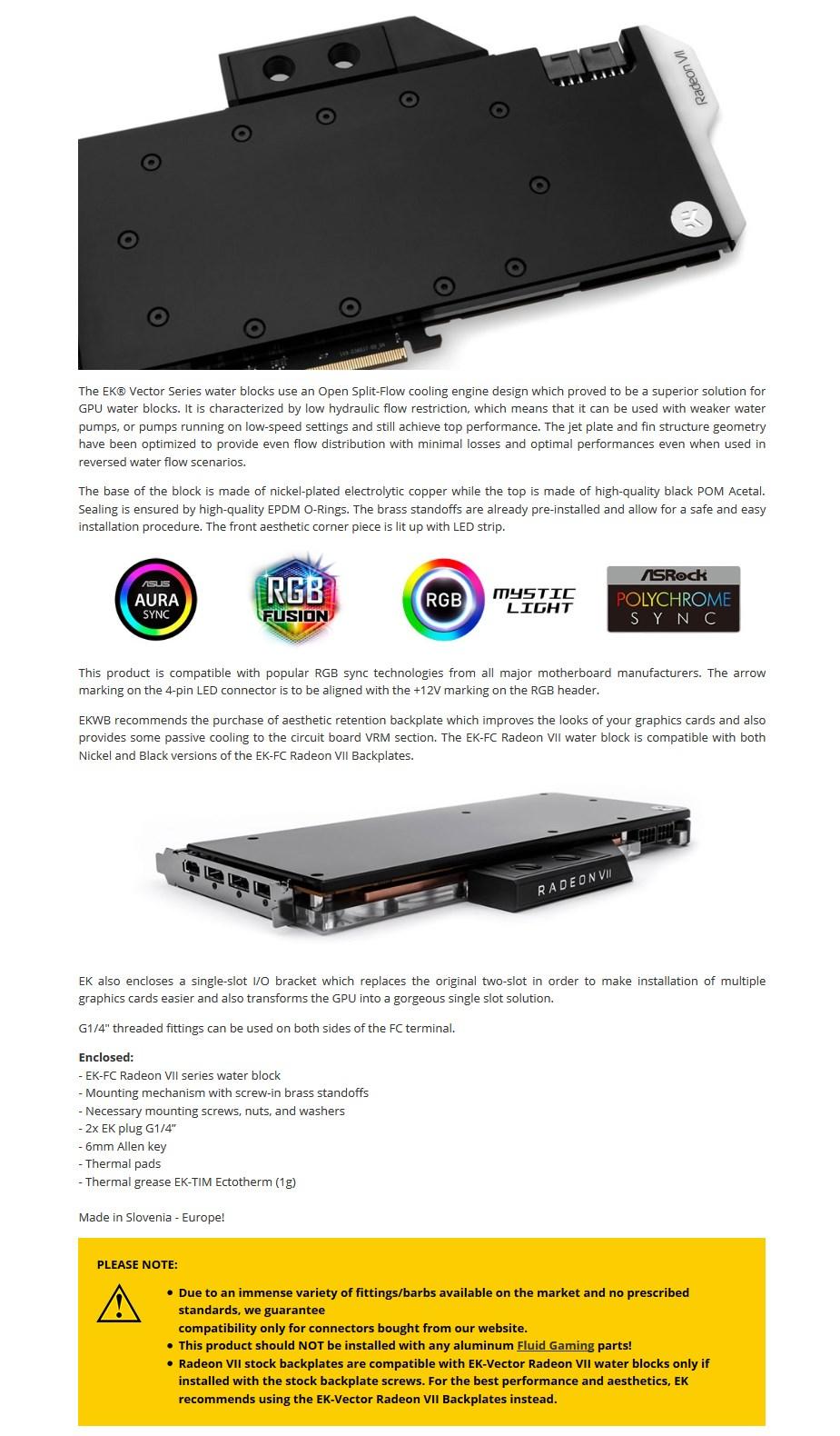 EKWB EK-Vector Radeon VII RGB - Nickel + Acetal GPU Water Block - Desktop Overview 2
