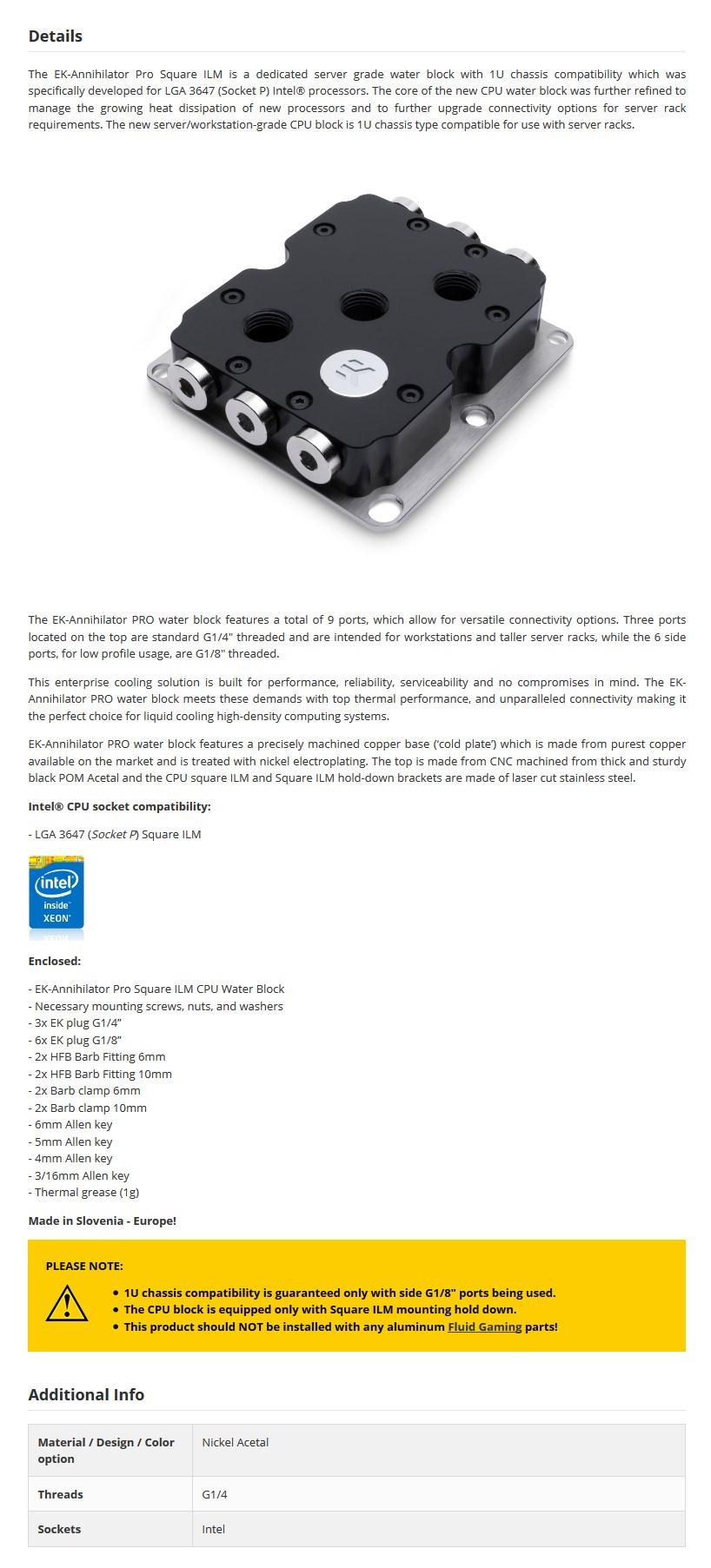 EKWB EK-Annihilator Pro CPU WaterBlock for Intel Sockets - Square ILM - Desktop Overview 1