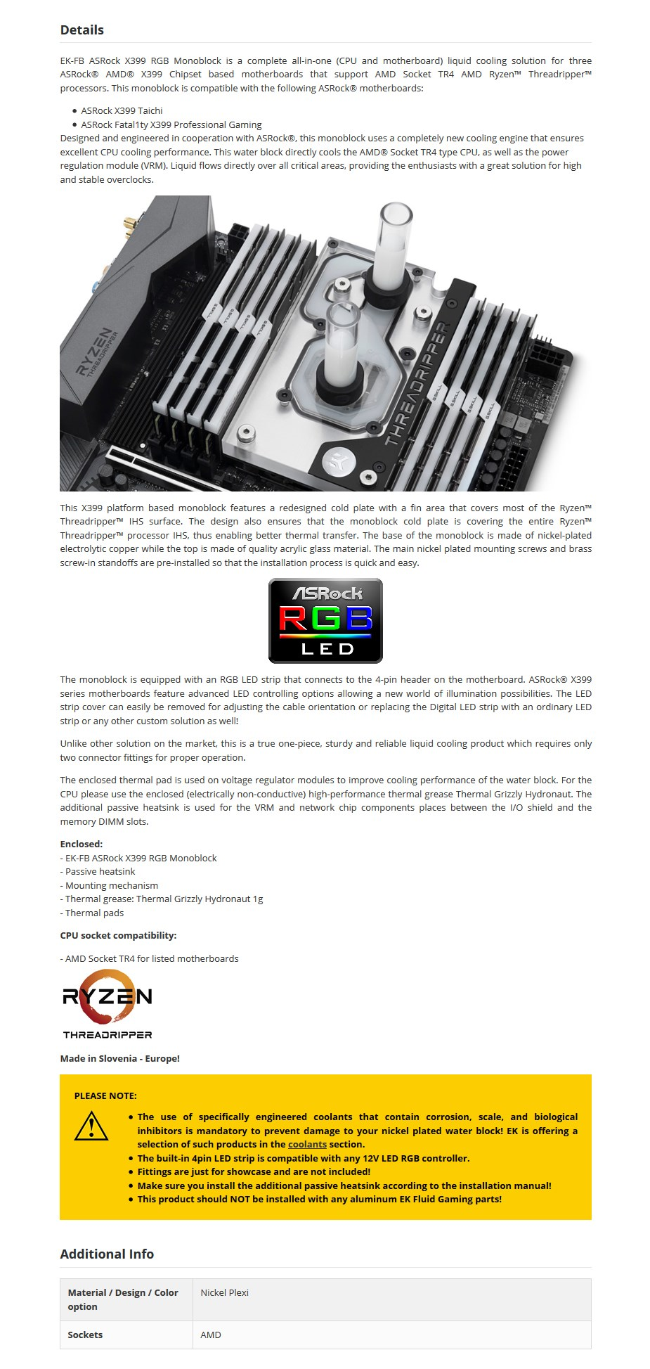EKWB EK-FB ASRock X399 RGB Monoblock - Nickel - Desktop Overview 1