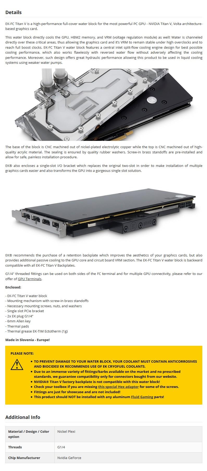 EKWB EK-FC Titan V - Nickel GPU Water Block - Desktop Overview 1
