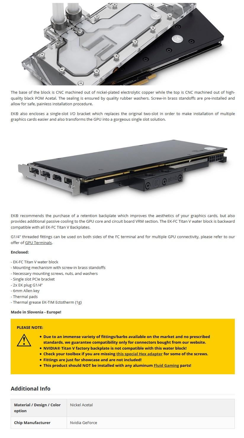 EKWB EK-FC Titan V - Acetal + Nickel GPU Water Block - Desktop Overview 1